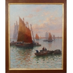 TIMMERMANS Louis French School Nineteenth Sardinia Boats Sardinières Oil On Canvas Signed Dated