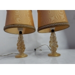 1950/70 Pair of Lamps in Murano Crystal With Gold Inside, Barovier & Toso Di Murano Signed