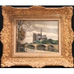 CERIA Edmond XXTh century painting Paris Notre Dame Modern art Oil on panel signed