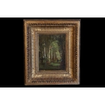 Oil on panel  Forest landscape, guilded wood frame, 19th