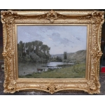 FOUBERT Emile French Painting 20th Century Barbizon School The Seine In Vetheuil Oil Signed