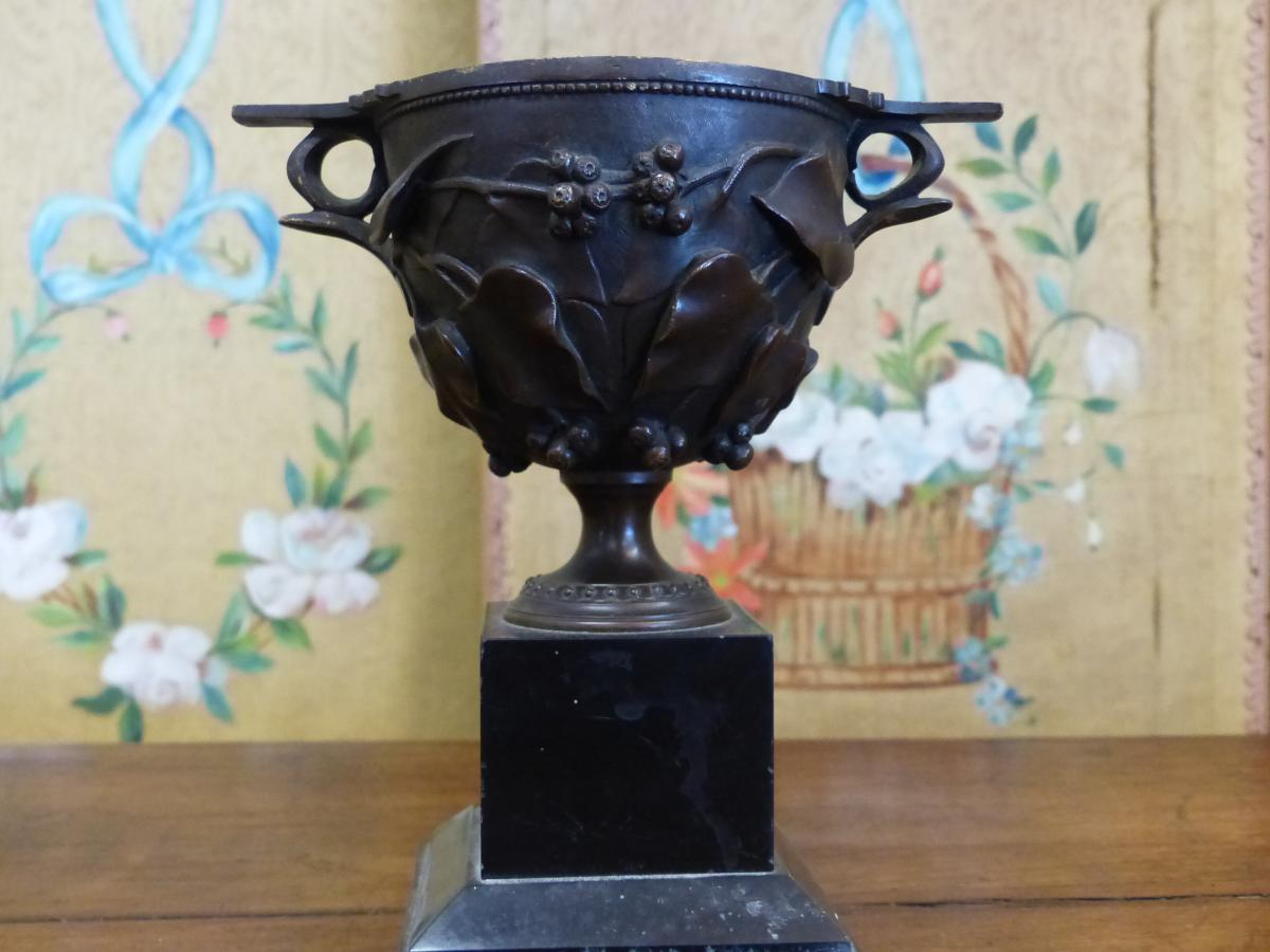 bronze bowl on pedestal xix th Napoleon III period second empire
