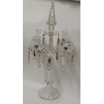 1950 'Baccarat Candlestick With 4 Branches Beaded Base Bamboo Model Or Tors Unsigned