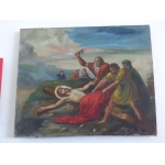 religious painting oil / canvas xix th colors christ passion stations of the cross