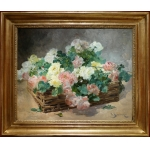 JEANNIN Georges French Painting 19th century Basket of roses Oil on canvas signed