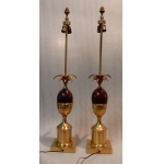 1970 'Pair Bronze In The Style Of Maison Charles Lamps With Amber Color Bakelite Egg