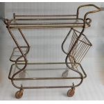 1970 'Rolling Bar in Bronze and Gilt Brass Maison Bagués Decor Art Nouveau