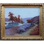 HALLE Charles French painting landscape 20Th century Crozant School Creuse Landscape Oil on canvas signed