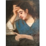 OIL ON CANVAS OF A YOUNG WOMAN READING