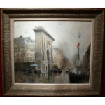 Herve Jules Impressionist Painting 20th Paris Porte St Martin Grands Boulevards Oil on canvas Signed