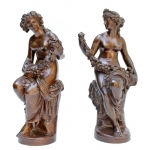 PAIR OF SCULPTURES by Jean Baptiste CLESINGER (1814-1883) & BARBEDIENNE