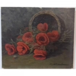Table Oil On Canvas Bouquet Of Poppies Sign Rambeau XX Eme