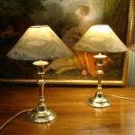PAIR OF BRONZE LAMPS