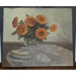 Table Oil On Canvas Bouquet Of Marigolds With A Pearl Necklace Sign Rambeau xx th