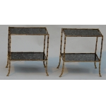 1950/70' Pair of Tables has 2 Levels Maison Bagués With Olded Mirror 38 X 21 cm