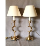 PAIR OF ORIENTALIST CANDLESTICKS MOUNTED IN LAMP