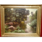 HIS René French Painting Early 20th Century River In The Wood Oil On Canvas Signed