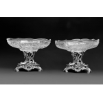PAIR OF CRYSTAL DISHES BY CARDEILHAC