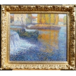 Juste René Ecole De Crozant The Dam In The Creuse Oil On Canvas Signed