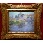 Madeline Paul French Painting Early 20th Century Crozant School Bridge Over Creuse Oil On Board signed