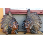 PAIR OF EARTHENWARE INDIAN HEADS