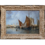 Noel Jules French Ancient Painting 19th Harbour In Normandie Oil On Canvas Signed And Dated