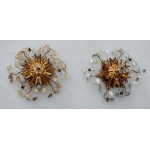 1970' Pair Of  Ceiling Light or Wall Lamp with Flowers and Leaves in the Style of Maison Bagués With Leaves