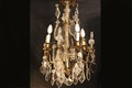 Chandelier with pendant, crystal and bronze,  19th century
