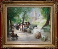 HERVE Jules René French impressionist painting 20Th century The booksellers front Notre Dame Oil on canvas signed