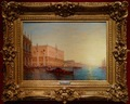 CALDERON Charles Clément French School 19th Century View of Venice The basin of Saint Marc in sunny Oil on canvas signed