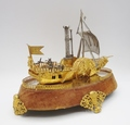 MODEL BOAT IN GOLD AND SILVER PLATE