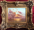 Emile MAILLARD French painting early 20Th century Sunset Oil signed
