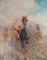 PECHAUBES Eugène Horse racing at the trot French school 20Th century Oil on panel signed
