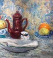 CAMOIN Charles Old French postimpressionist painting 20th century Still life Fruit bowl and coffee pot Oil on canvas signed