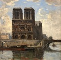 FRANK BOGGS American School Paris Notre Dame and La Seine Oil on canvas signed