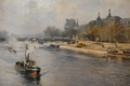 VOLLON ALEXIS ANCIENT PAINTING BEGINNING 20Th CENTURY VIEW OF PARIS TUGBOAT ON THE SEINE FRONT THE LOUVRE MUSEUM OIL ON CANVAS SIGNED